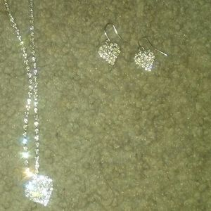 Heart necklace and heart earrings